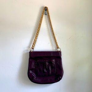 Lauren merkin leather purple handbag